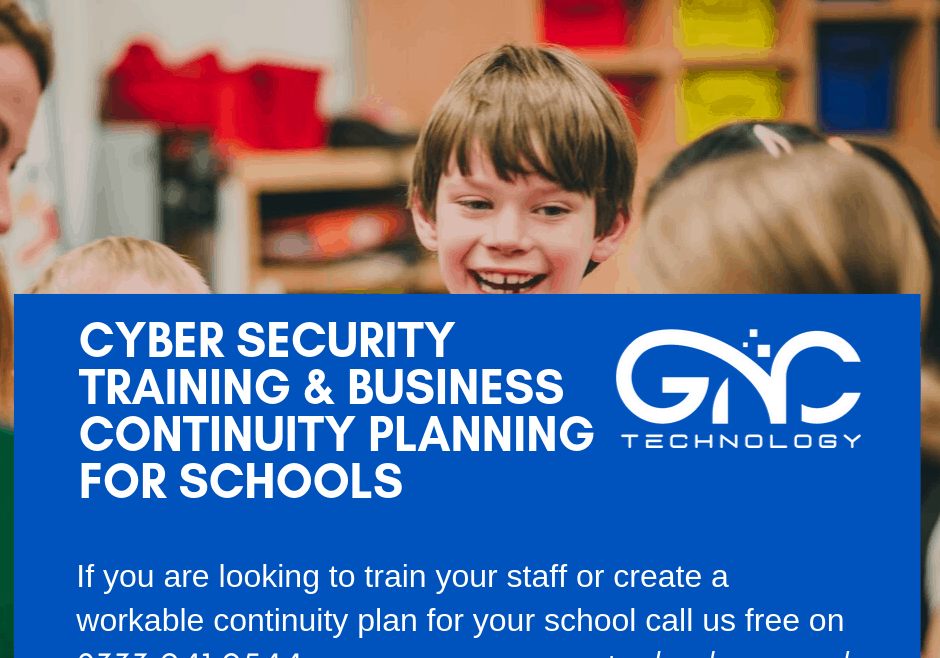 Cyber security for schools and schools IT Continuity plan poster